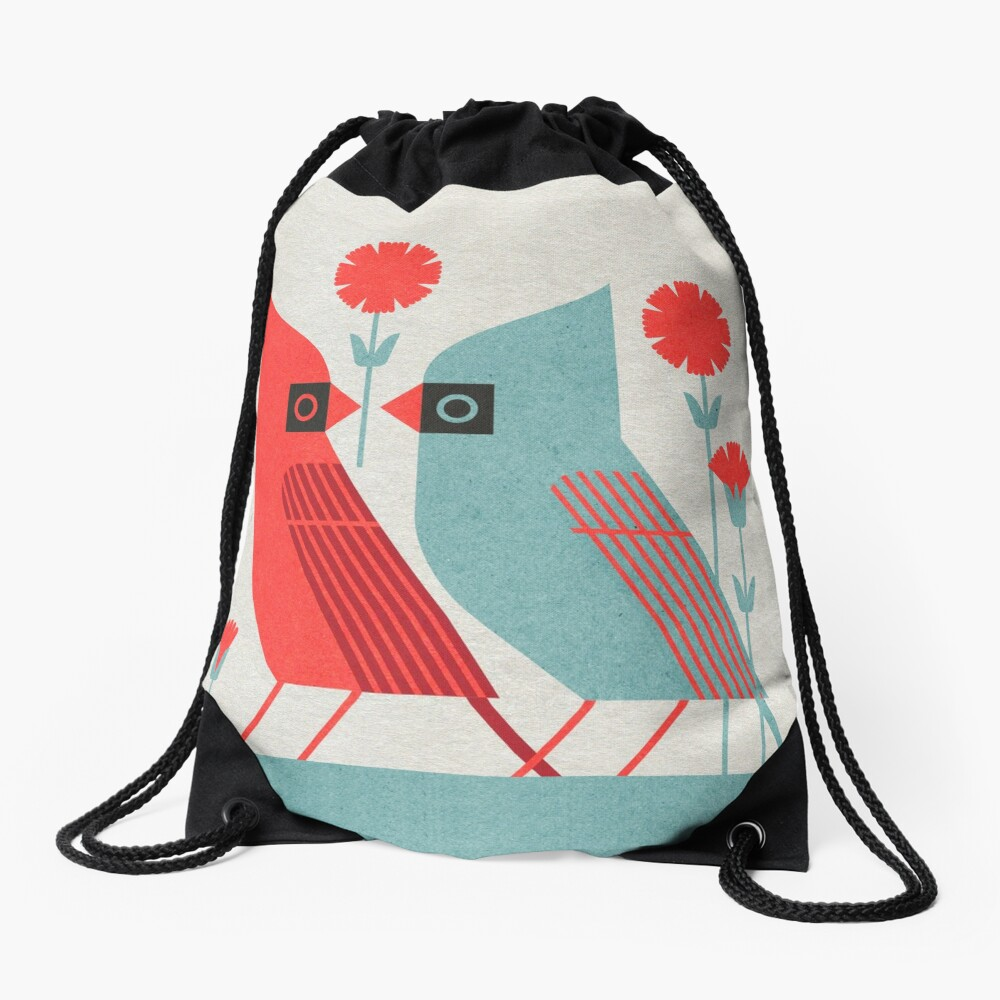 Cardinals and Carnations  Drawstring Bag