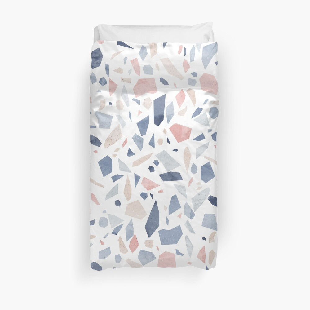 Terrazzo vintage pastel blue pink Duvet Cover