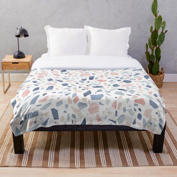 Vintage pastel blue pink beige geometric terrazzo pattern Throw Blanket