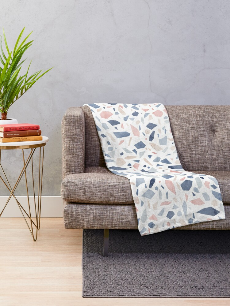 Alternate view of Terrazzo vintage pastel blue pink Throw Blanket