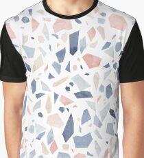 Camiseta gráfica Terrazo azul pastel época de color rosa