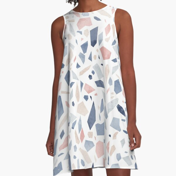 Vintage pastel blue pink beige geometric terrazzo pattern A-Line Dress