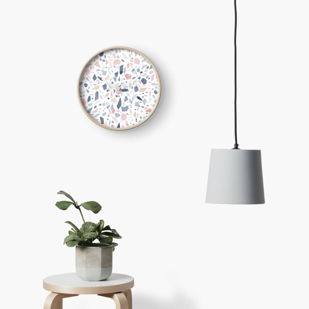 Terrazzo vintage pastel blue pink Clock