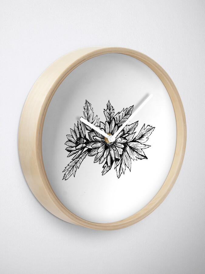 Alternate view of Pen and Ink Chrysanthemum Clock