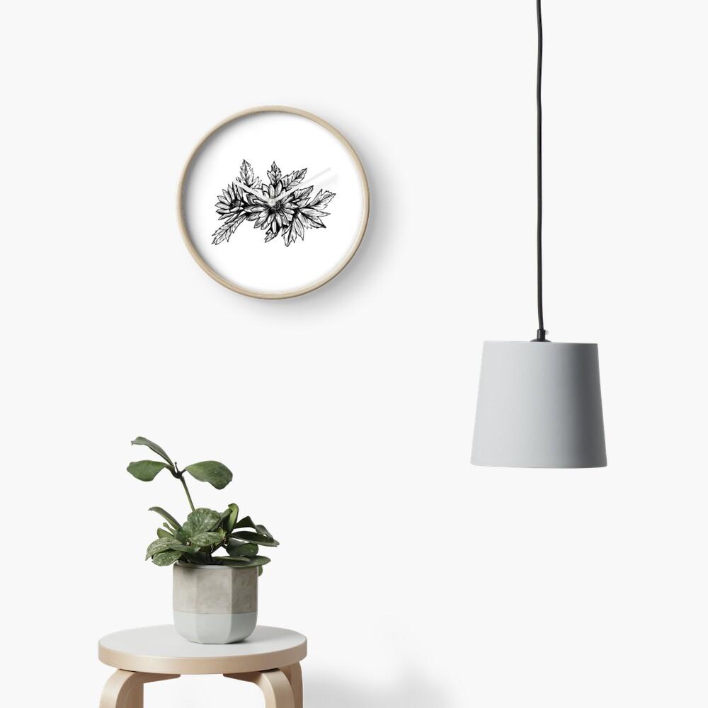 Pen and Ink Chrysanthemum Clock