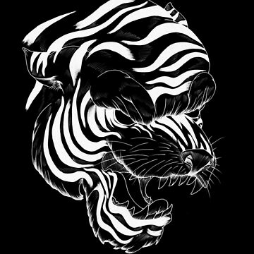 tiger head white by SinAddict
