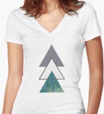 Oil spill Triangles Women's Fitted V-Neck T-Shirt