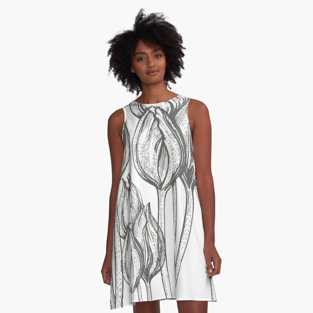 tulip line pattern A-Line Dress Front