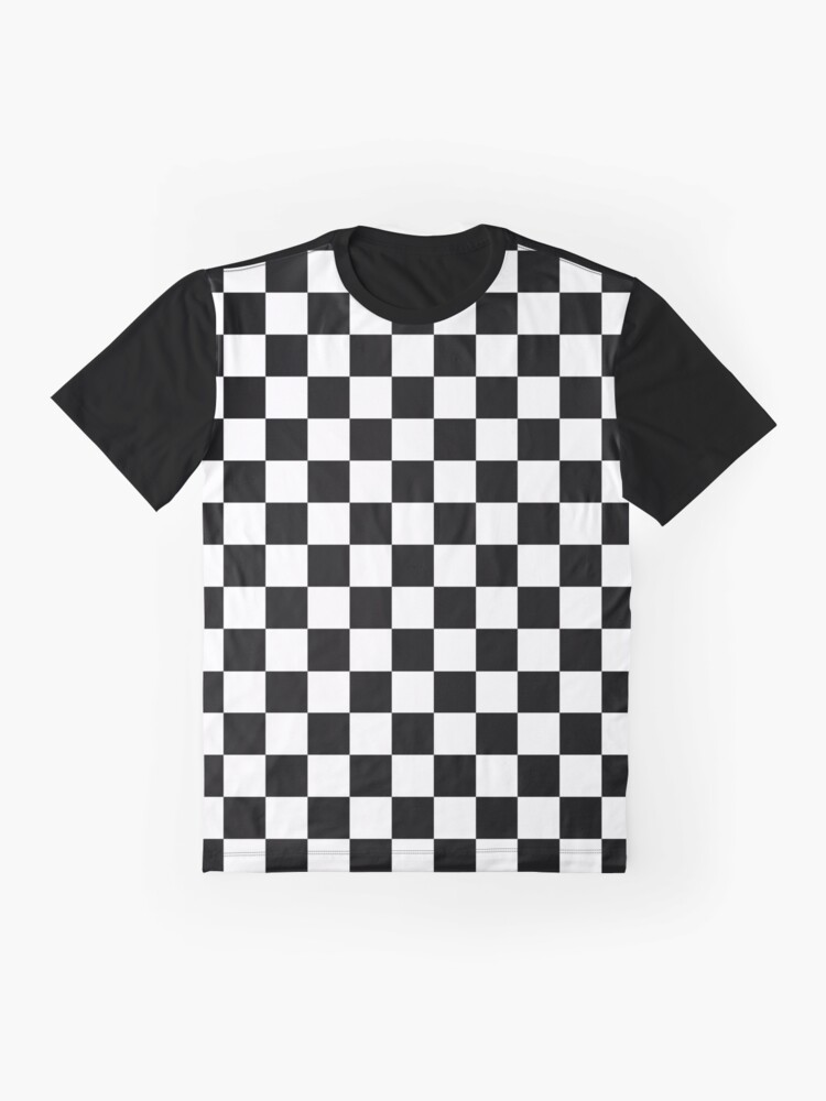 Alternate view of Black and White Check Checkered Flag Motorsports Race Day + Chess Graphic T-Shirt