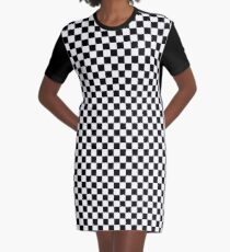 Black and White Check Checkered Flag Motorsports Race Day + Chess Graphic T-Shirt Dress