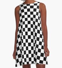 Black and White Check Checkered Flag Motorsports Race Day + Chess A-Line Dress