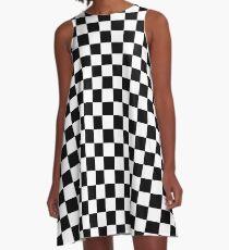 Schwarz-Weiß-Check Checkered Flag Motorsport-Renntag + Schach A-Linien Kleid