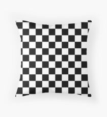 Black and White Check Checkered Flag Motorsports Race Day + Chess Throw Pillow