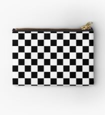 Black and White Check Checkered Flag Motorsports Race Day + Chess Zipper Pouch