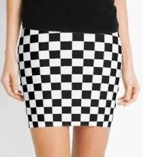 Black and White Check Checkered Flag Motorsports Race Day + Chess Mini Skirt
