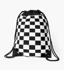 Black and White Check Checkered Flag Motorsports Race Day + Chess Drawstring Bag
