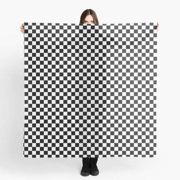 Black and White Check Checkered Flag Motorsports Race Day + Chess Scarf