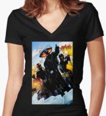 Black Manta Shirt Women's Fitted V-Neck T-Shirt