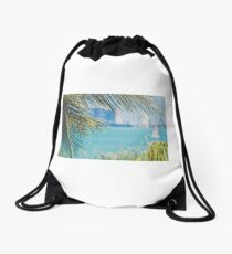 Palm Trees from the Bay Drawstring Bag