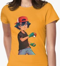 Ash with Pokeball Womens Fitted T-Shirt