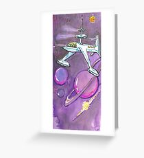 Saturn and ship in purple Greeting Card