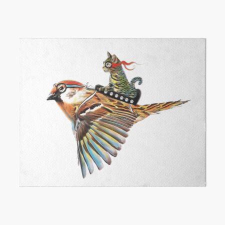 Flying Cat with Bird Art Board Print