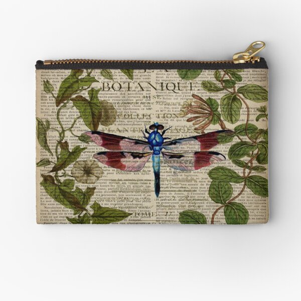 modern leaves botanical art vintage french dragonfly Zipper Pouch