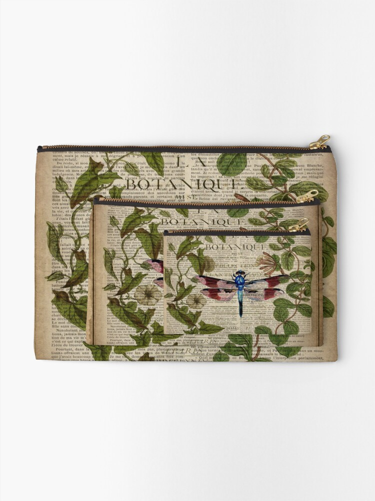 Alternate view of modern leaves botanical art vintage french dragonfly Zipper Pouch