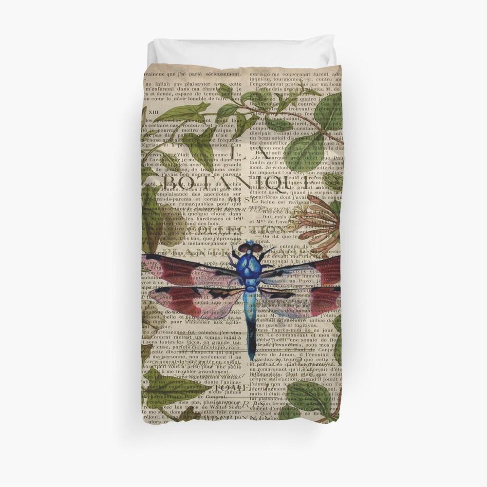 französische Libelle der modernen Blätter botanische Kunstweinlese Bettbezug
