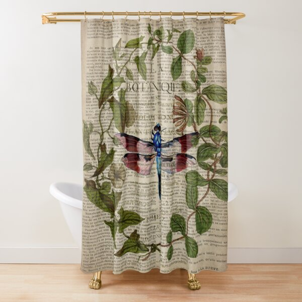 modern leaves botanical art vintage french dragonfly Shower Curtain