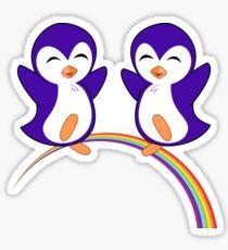 Purple Penguin Rainbow Sticker
