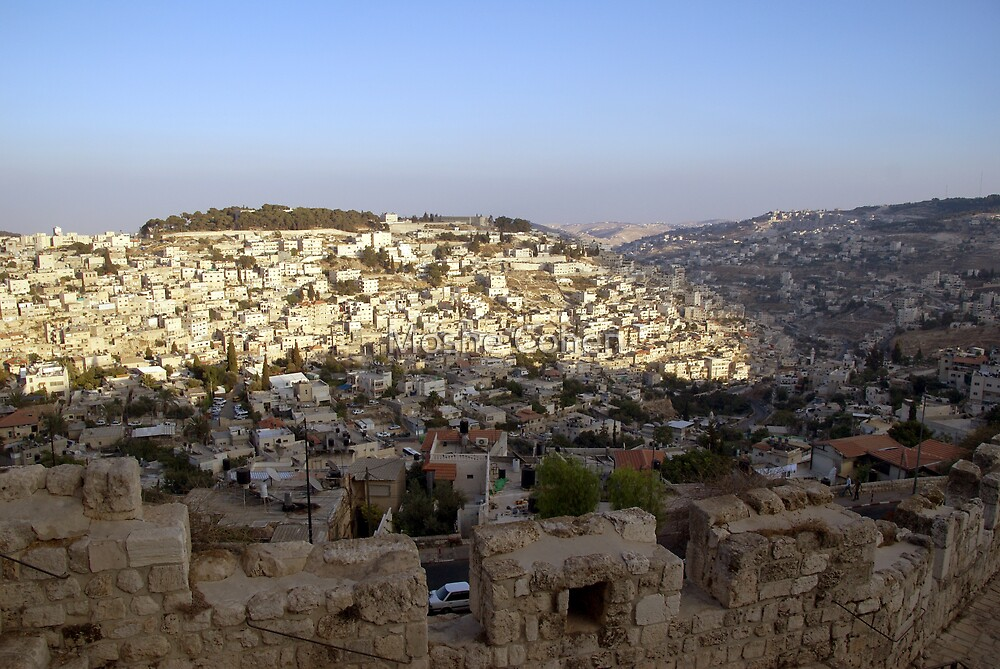The view from Jerusalem Wall around the old city by Moshe Cohen
