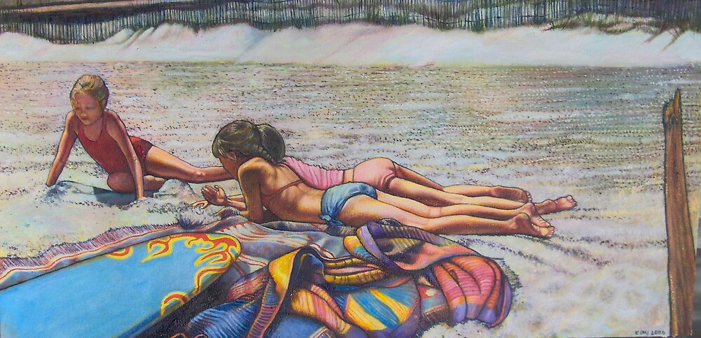 Three Girls on the Beach by Eleanor Day