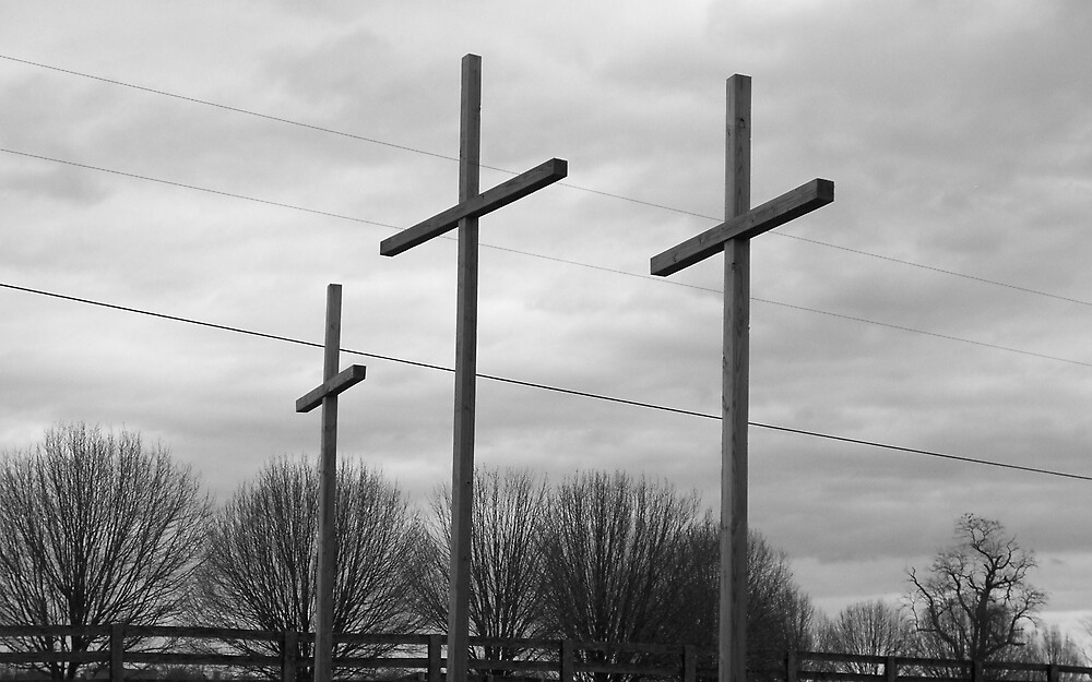 Three Wooden Crosses by Rebecca Ogden
