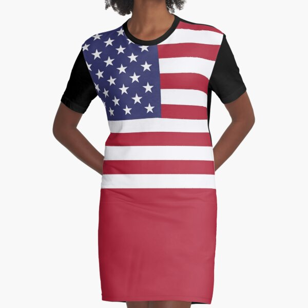 American Mini Skirt - USA Flag Graphic T-Shirt Dress