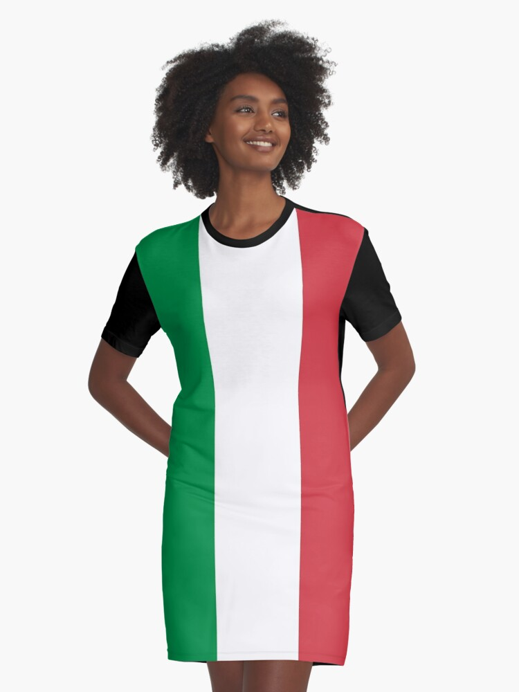 Italian Flag Mini Skirt Dress Graphic T-Shirt Dress Front