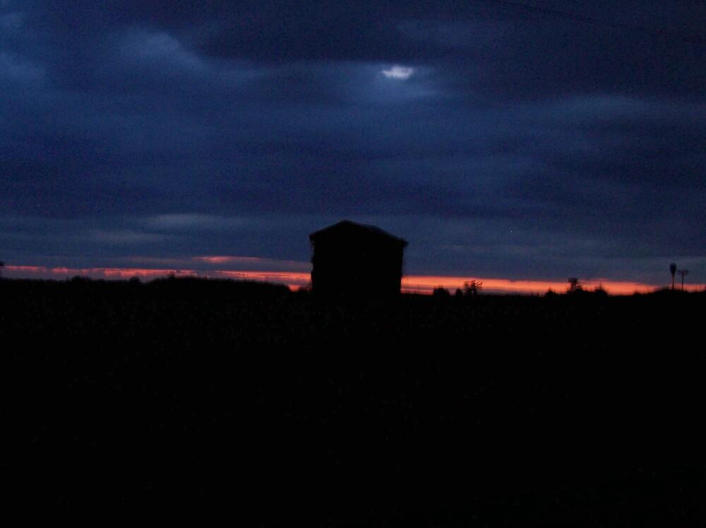 Barn in Night Sky by Kristie King