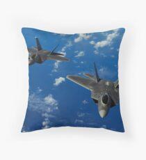 U.S. Air Force F-22 Raptors in flight near Guam. Throw Pillow
