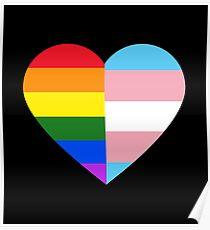 LGBT-Regenbogen und Transgender-Stolz-Flaggen-Herz Poster