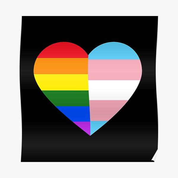 LGBT Rainbow And Transgender Pride Flag Heart Poster