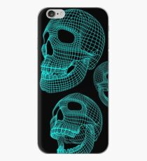 Neon Skulls - Large Blue Skulls iPhone Case