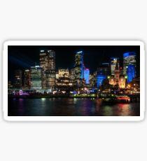 Sydney Skyline from Cambell Cove during Vivid Light Festival Sticker