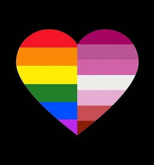 LGBT Rainbow And Lesbian Pride Flag Heart