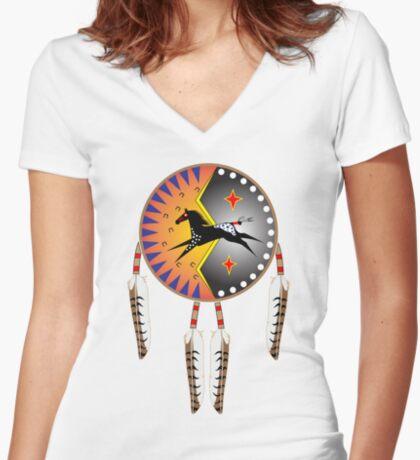 War Horse Shield Women's Fitted V-Neck T-Shirt