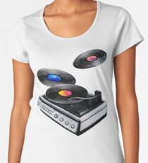 Watercolor vinyl turntable and records Women's Premium T-Shirt