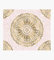Marble mandala - golden on pink marble Photographic Print