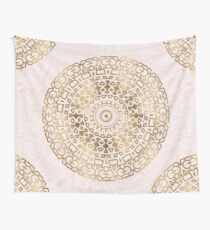 Marble mandala - golden on pink marble Wall Tapestry