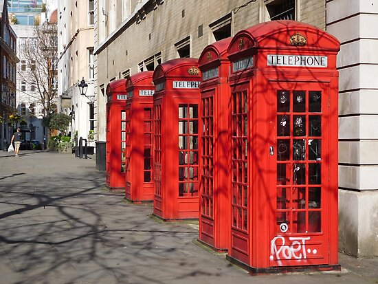 Red Telephone Booths, London by HilaryLeslie