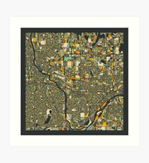 TWIN CITIES MAP Art Print