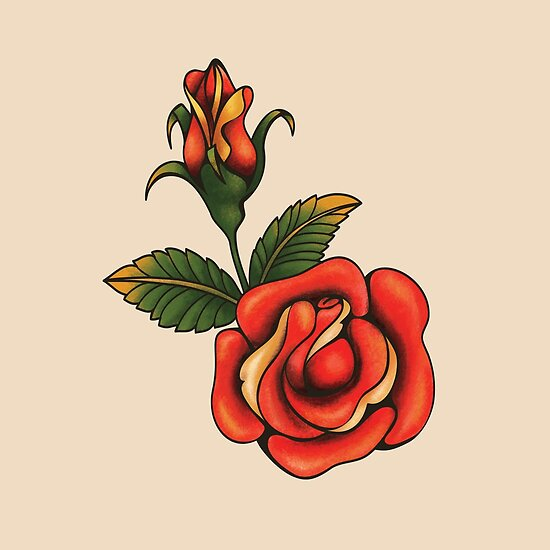 Old School Tattoo Rose Posters By Dune Melodie De Jera Rad Sol